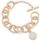 Pave Crystal Pendant Toggle Chain Bracelet (In Gold or Silver Tone)