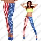 New Ladies USA Flag Stars And Stripes American Printed Stretchy Leggings Pants