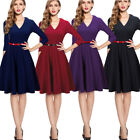 Women's Elegant V neck Chic Swing Party Dress A006