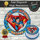 SUPERMAN EDIBLE ROUND BIRTHDAY CAKE TOPPER DECORATION PERSONALISED