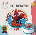 SPIDERMAN EDIBLE ROUND BIRTHDAY CAKE TOPPER DECORATION PERSONALISED