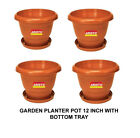 Aristo Garden Planter Pots 12Inch with Bottom Tray|Saucer|Plate|Ghamla|4 Pcs Set