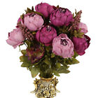 Artificial Bouquet Peony Silk Flowers Fake Leaf Wedding Party Garden Ornament