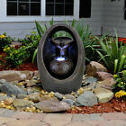 Garden Fountain Water Feature LED Lights Indoor Outdoor Polyresin Statues Decor