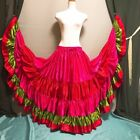 Mix Satin 5 Tiered Gypsy Skirt Belly Dance Jupe 25 Yd Flamenco Frill Ruffle DRO