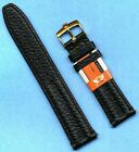 GENUINE BLACK LEATHER CAVADINI STRAP BAND 18mm or 20mm & ROLEX GOLD PLATE BUCKLE image