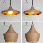 Weave Hemp Rope Adjustable Iron Pendant Nature Ceiling Lamp Light Cafe Shape