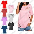 New Ladies Short Cap Sleeve Distressed Ripped Holes Plain T-Shirt Casual Tee Top