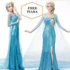 Frozen Elsa Fancy Dress Costume Gown Adult all sizes Blue FREE Tiara
