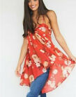 Free People OB496118 Mirage Spaghetti Strap High-Low Top Red  $88 Large
