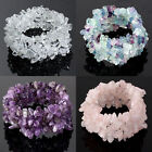 Natural Crystal Quartz Gemstone Chips Bead Stretchy Bracelet Bangle Gift For Mom