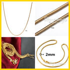 18k 18ct Yellow Gold Filled Snake Chain Necklace Men Women 16-24inch 1mm 2mm 3mm