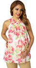 Beige Floral Pink Maternity Top Blouse Sleeveless Flowers Roses Chiffon SHEER