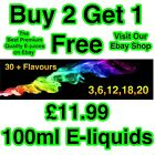 E-Liquid E-Juice Quality Refill Vaping Flavours 50Vg / 50Pg BUY 2 GET 1 FREE AA
