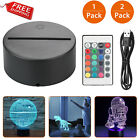 1/2pack LED Lamp Base 3D Night Light Acrylic Plate Panel Holder+Remote+USB Cable