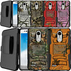 For LG K30, Premier Pro LTE, K10 2018 Hybrid Shock Heavy Duty Holster Case Camo