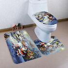 3PCS Christmas Bathroom Non-Slip Pedestal Rug Lid Toilet Cover Bath Mat Set