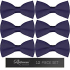 12 Pack Bowtie Solid Color Men's Adjustable Pre Tied Formal Bow Tie Tuxedo