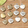 Heart shaped  Thank you  lettering charms in tibetan silver and antiqued bronze