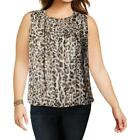Calvin Klein Womens Animal Print Pleated Sleeveless Blouse T