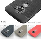 Armor Shockproof Hybrid TPU Leather Textured Slim Case Cover Plus Tempered Glass