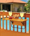 Outdoor Deck Table Folding Wood Balcony Porch Railing Serving Side Coffee Plants