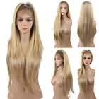 Long Natural Straight Full Hair Wigs Brown Ombre Blonde Synthetic Lace Front Wig