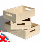 Wooden SET of 3x Boxes with Handles, Single or in SET, Craft Decor, Natural Pine