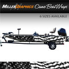 American Flag Waving (black and white) Boat Wrap Kit 3M Cast Vinyl - 6 Sizes