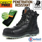 Canura Safety Work Boots Anti Penetration Side Zip 8602 Steel Toe Cap Black NEW