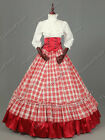Civil War Victorian Old West Plaid Ball Gown Theater Dress Adult Costume N K001