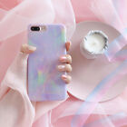 For iPhone X 8 7 6s 6 Plus Case Girls Women Marble Stone Iridescent Skin Shell