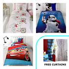 Childrens Single Duvet Cover and Pillowcase Sets + FREE CURTAINS