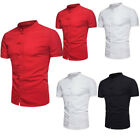 US Men's Summer Chinese Style Shirt Short Sleeve Casual Shirt Cotton T-Shirts