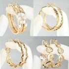 9ct 9K Gold Filled Ladies Prom Twisted Hoop Earring Valentine Xmas Birthday E583