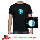 2019 Iron Man 3 Tony Stark Light Up LED Arc Reactor Mark VI Prop Glow T-Shirt image