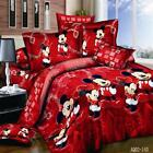 4 Piece 100% Cotton Mickey Mouse Queen Full King Duvet Pillow Bedding Set image