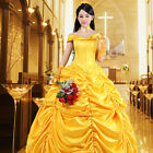 US SHIP! Beauty and The Beast Adult Princess Belle Costume Halloween Dress Party