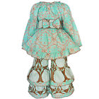 AnnLoren Girls Blue & Beige Tunic and Floral Pant Clothing Set Sz 2/3T - 11/12