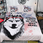 Twin Full Queen King Bed Set Pillowcase Quilt Cover LusR Dog Siberian Husky