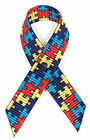 """3/8"""" Autism Awareness Grosgrain Bows With Safety Pin Attached"""