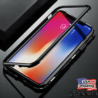 iPhone XS MAX XR X Luxury Magnetic Metal Frame Tempered Glass Back Cover Case