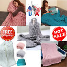US Large Home Decor Warm Sofa Chunky Knit Yarn Blanket Thick Bulky Knitted Throw image