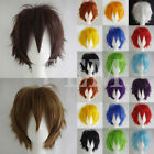 USA Seller Unisex Cosplay Wigs Synthetic Fiber Short Curly Layered Hair Wigs Red