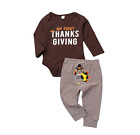 US My First Thanksgiving Baby Boy Girl Outfit Romper+Striped Turkey Pants 2Pcs