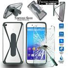 Tempered Glass Screen Protector+silicone bumper Stand Case For Sony Xperia Phone