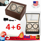 NEW SALE! 4+6 Automatic Rotation Leather Watch Winder Storage Case Box US