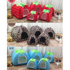 Soft Strawberry Pet Dog Cat Bed House Kennel Doggy Warm Cushion Basket  dHJA