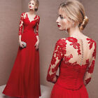 Fashion V Neck Prom Dresses Long Sleeves Lace Party Evening Formal Gown Size4-18