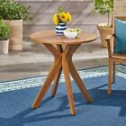 Brigitte Outdoor Round Acacia Wood Bistro Table with X Legs